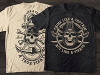 Shirt design with a pirate skull