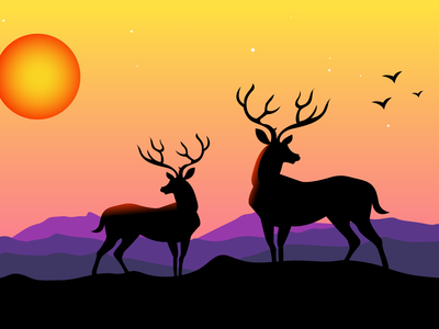 Deer Landscape Illustration deers deer logo vectors vector illustration vector art landscape design landscape illustration deer landscape design logo flat vector illustration ux ui