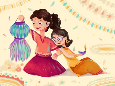 Happy Diwali childrens book storybook illustration festive india diwali indian festival illustrator childrens illustration digital illustration digitalart characterdesign illustration