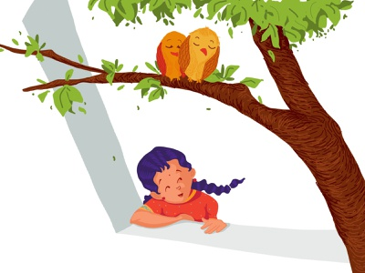 Morning Illustration digital illustration nature trees birds numbers pleasant morning school days school indian characters india digitalart childhood picturebook kids illustration characterdesign