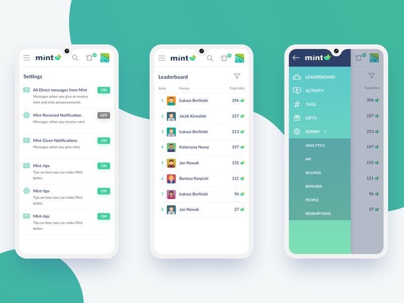 Mint app mint mobile user interface app ui development design app design bitnoise
