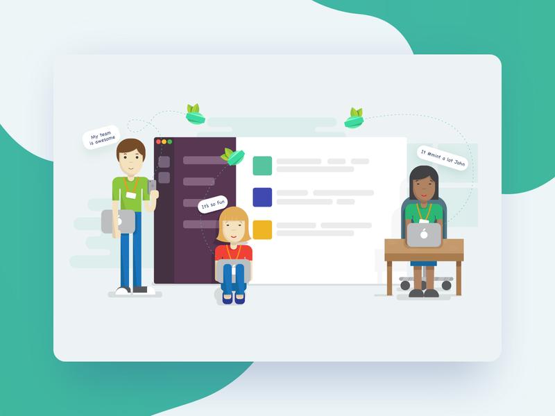 Mint app illustration vector illustration mint design ui development app design bitnoise