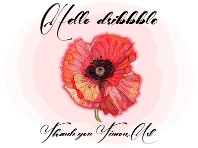 Hello, dribbble! Thank you @Timon Art illustrator website typography fragile delicate feminine flover poppy watercolor illustration logo vector design