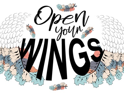 "Project ""Wings"" for the customer boho design print vector sketch open wings"