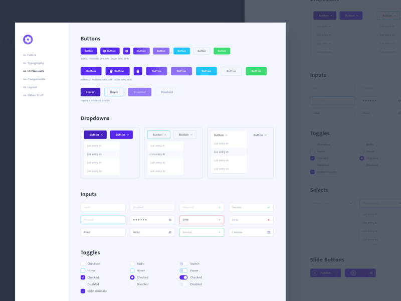 UI Elements Styleguide Light Version interface radio switch checkbox select dropdown input form button cms light styleguide ux ui