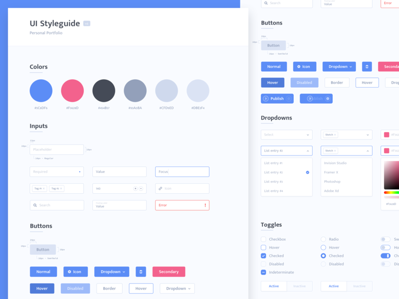 UI Styleguide button select dropdown colorpicker checkbox toggle form ux ui user interface interface portfolio personal design system styleguide
