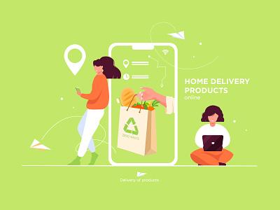 Delivery online delivery 2020 vector illustrator illustration