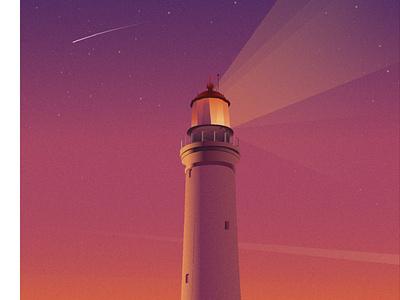 Just lighthouse, nothing else. sunsets sunset sky light dreams dream design illustration falling star lighthouse