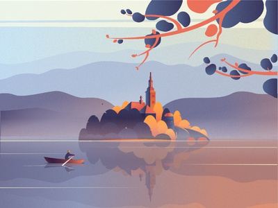 Best early morning in my dreams. best illustration best design mountain mountains castles castle water river lake vector dreams dream illustration design best