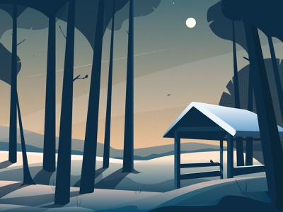 Winter is comming... vector illustrator trees russianwinter snow moon forest winter
