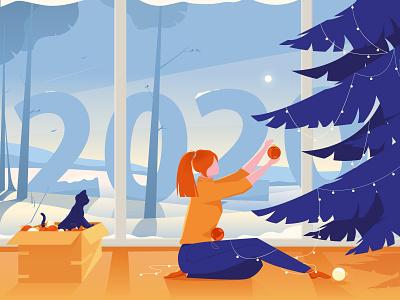 Tangerine mood happy new year 2020 best illustration illustrator vector dreams illustration