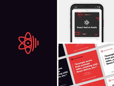 React Native Radio Rebranding brand identity development podcast logo quotes code branding react native podcast logo design logo