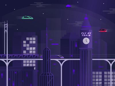 Chain React 2018 infinite red cityscape city future conference illustration