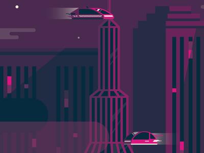 Illustration Progress dark theme buildings cars screenprinting screenprint swag conference futuristic city illustration