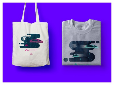 Conference Swag, pt 1 conference swag react native space futuristic illustration mockups swag conference conference design tote bag shirt design