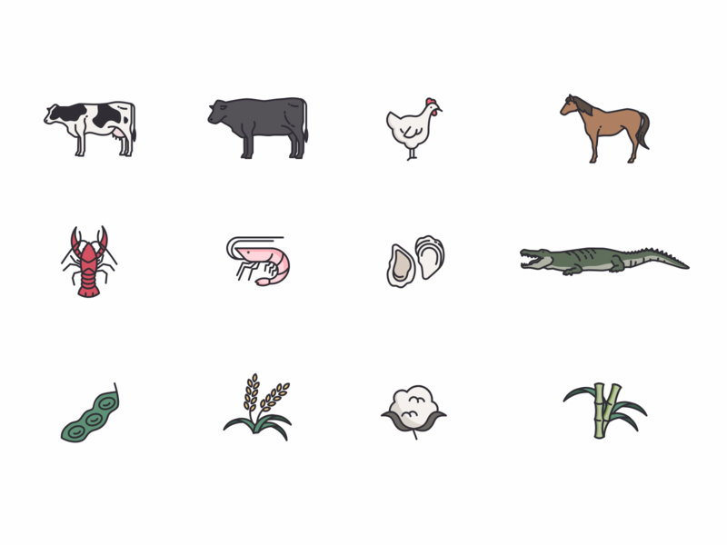 Icon Set farm icons animal icons alligator shrimp crawfish agriculture farm animals custom icons icon set icons