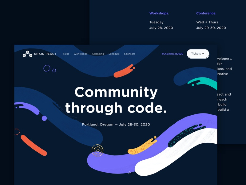 Landing page iterations ui landing page concept react native identity branding conference design conference web illustration abstract illustrations illustration web  design website landing page