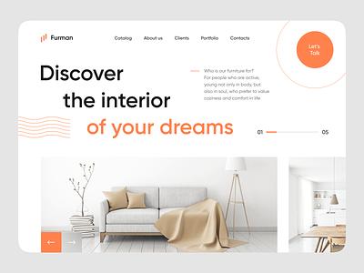 Designer Furniture Store Homepage interior design furniture user interface ux ui concept website web design homepage