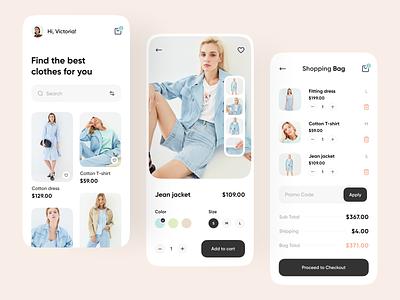 Fashion Store Mobile App app ux ui user interface fashion mobile design design app mobile ui mobile app app design e-commerce app e-commerce shop e-commerce design