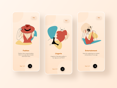 Onboarding Fashion illustration color minimal app creative interaction mobile ux ui design onboarding