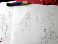 Stu's Watercolor Kitchen/Lab Process 1