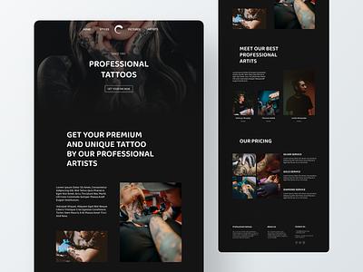 Tattoo shop web design website informational shop tattoo portfolio personal ecommerce branding ui ux design custom brand design