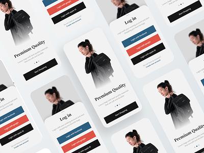 Login & Onboarding premium login minimalist minimal ios ecommerce ui ux design custom brand design