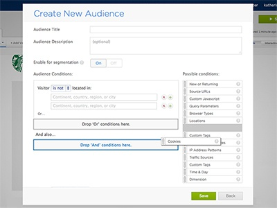 Drag and Drop Audiences Feature drag and drop dnd ui ux audience targeting optimizely cookie monster