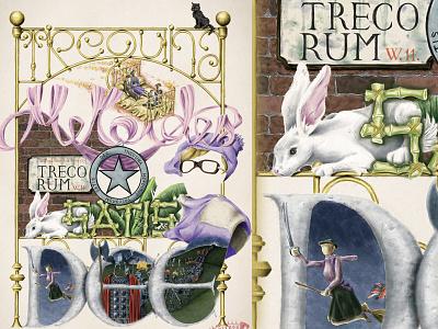 The Silver Screen Spells - TREGUNA MEKOIDES TRECORUM SATIS DEE movie poster bedknobs and broomsticks broomsticks bedknobs magic spell spell black cat england angela lansbury witch magician magic rabbit digital painting digital illustration illustration