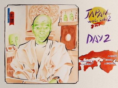 JAPAN Wabi sabi 2 - 2019 - OLD MONK talisman old monk monk holidays wabi sabi strairs temple kotohira shikoku paper watercolour diary watercolor brown green journey trip summer japan