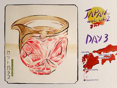 JAPAN Wabi sabi 2 - 2019 - ETCHED GLASS paper trip magenta brown tradition craft glass ukiyo-e watercolour watercolor illustration japan kagoshima wabi-sabi
