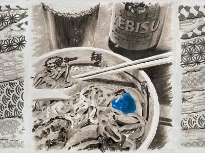 JAPAN Wabi sabi 2015 - RAMEN beer shinjuku blackandwhite blue ramen japan paper marker pen marker illustration