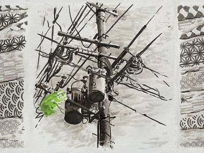 JAPAN Wabi sabi 2015 - WIRES green electric wire pole electric kyoto japan paper marker pen marker blackandwhite illustration