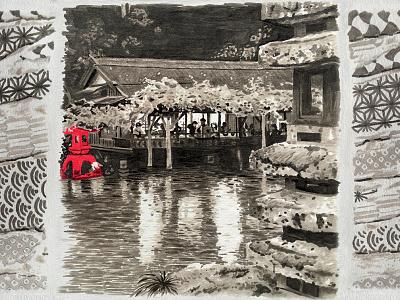 JAPAN Wabi sabi 2015 - TEA ROOM paper lake tea room tea gardens garden kanazawa kenrokuen japan marker pen marker blackandwhite illustration red