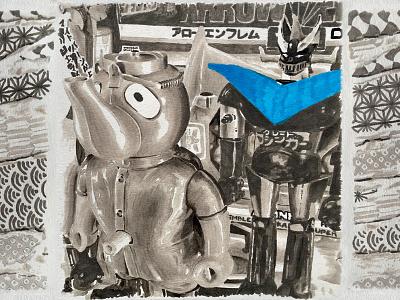 JAPAN Wabi sabi 2015 - TOYS tokyo shibuya mazinga mazinger mandarake japan action figure toys toy blue blackandwhite marker pen marker paper illustration