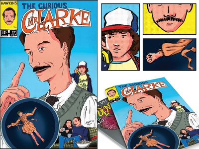 STRANGER HEROES_Mr Clarke eleven science teacher teacher hero digital illustration digital stranger things dustin comics comic cover mr clarke illustration