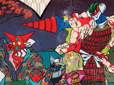ROBUSAI eighties 80s robot digital illustration illustration hokusai yukata kimono samurai ukiyoe ukiyo-e getter robot jeeg mazinga mazinger getter nagai go nagai robottoni mecha
