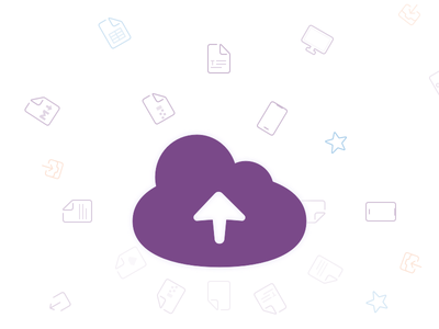 Homepage Banner file icons purple cloud