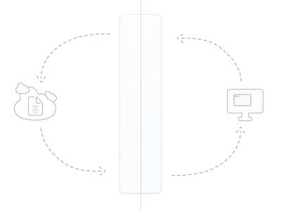 Database Synchronization Illustration arrows icons purple
