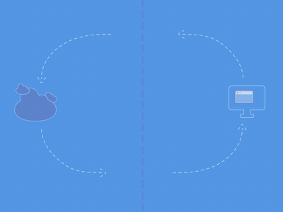 Database Illustration in Blue imac clouds icons blue