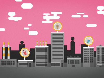 Bubble Tea City infographic bubble tea flat design pink animation science stock exchange kurzgesagt