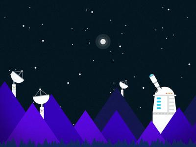 Space Mountains big bang space universe science flat design kurzgesagt