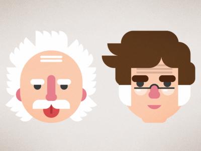 Einstein & Asimov albert einstein isaac asimov illustration face character flat design