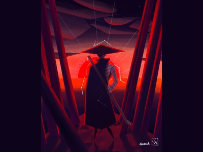 Hermit of The Constellation procreate constellation stars sun sage magic oriental colorful sunrise dawn dusk mystical drawing design character design illustration hermit geometric art geometric 2d