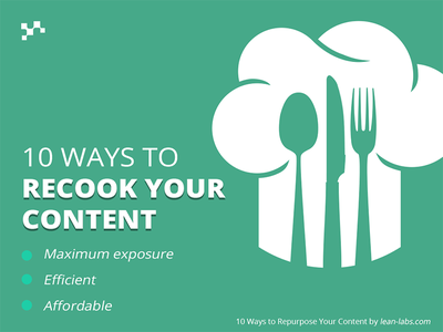 10 Ways to Recook Your Content slides green typography