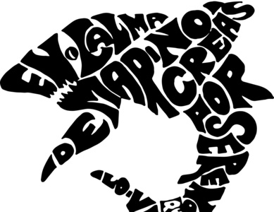Spanish proverb lettering in the silhouette of a shark