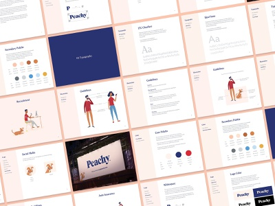 Peachy Case Study Launch brand guidelines case study illustration logotype focus lab identity design branding