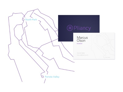 Pliancy Business Cards business card map illustration branding