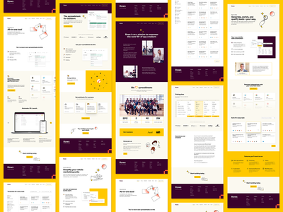 Row, Row, Row Your Spreadsheet purple yellow spreadsheet website web design figma ui design ui uiux identity design branding focus lab