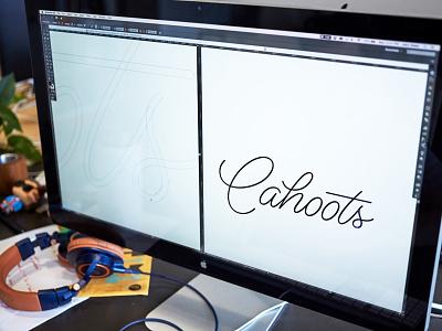 Cahoots Script Logotype logo design identity design community ann arbor cahoots lettering script logotype identity focus lab branding